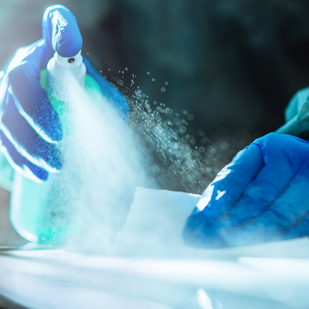 a cleaner sanitizing in healthcare facility